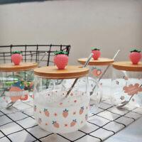 3D Cartoon Strawberry Lid Glass Coffee Mug Milk Water Tea Cup gift Art Decor