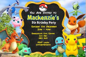 Personalised Pokemon Pikachu Birthday Party Invites inc Envelopes P11