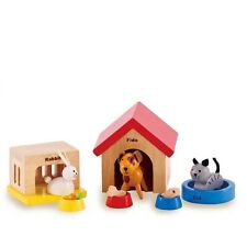 Dolls House Family Pets Wooden Animals Toy Pretend Play Set Dog Cat Rabbit