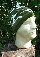 dark army green, grey,  white camouflage or camo beanie knit winter stocking cap
