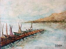 Provence Méditérannée peinture sur toile signée Jungo 79 XXème France