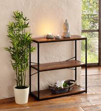 Regal Standregal Bücherregal 3 Regalböden Holz-Optik Metall schwarz 80 x 30 x 81