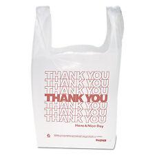 "Inteplast Group ""Thank You"" Handled T-Shirt Bags 11 1/2 x 21 Polyethylene White"