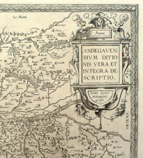 1579 Anjou Region - France, Ortelius Antique Engraved Map