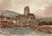 EUROPEAN CHURCH IN LANDSCAPE Small Watercolour Painting 19TH CENTURY
