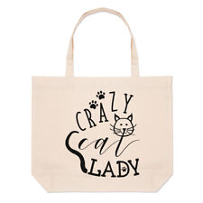 Crazy Cat Lady Paws Large Beach Tote Bag - Kitten Funny Shopper Shoulder