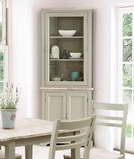 FLORENCE Corner Glass Display Cabinet, Sage Green Kitchen Dresser, ASSEMBLED