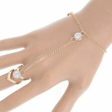 Women Crystal Leaf Bracelet Bangle Finger Ring Harness Hand Chain Jewellery