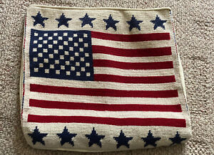 """Vintage Patriotic American Flag USA Needlepoint Pillow Cover Case 12x12"""""""