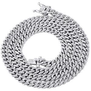 "10K White Gold Round Diamond 6.50mm Solid Miami Cuban Chain 26"" Necklace 2.90 CT"