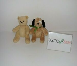 "Lot of Bitty Baby small articulated plush dog 4.5"" + small vintage bear 5"""