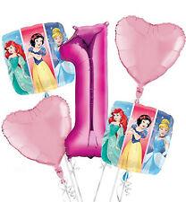 DISNEY PRINCESS 1st Birthday 5x BALLOON Bouquet  5 Foil Helium Balloons Age 1