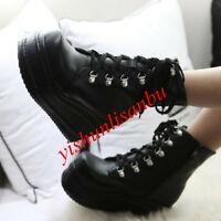 Women Wedge Chic England Punk Ankle Boots Platform Lace up Creepers Gothic Shoes