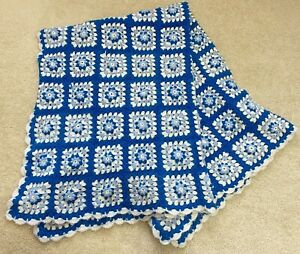 Vintage Granny Square Afghan Crochet Blanket Throw Blue White Sofa Baby Floral