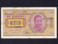 Katanga 10 Francs  P-5a  1960  ( Prefix  CC )