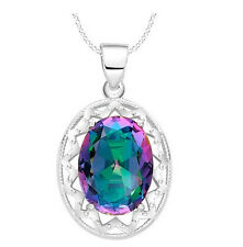 925 Silver Ornate Mystic Rainbow Topaz Oval Pendant Necklace ladies gift Crystal