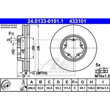 DISCO FRENO (2 pezzo) - ATE 24.0133-0101.1