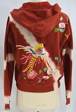 SWITCH USA bead embroidered tie dye zip up JACKET distressed hooded hoodie top S