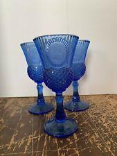 3 Vintage Fostoria Blue Glass For Avon Mount Vernon George Washington Goblet