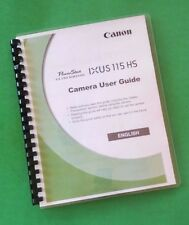 Canon Elph 100HS IXUS 115HS Camera 212 Page Laser Printed Owners Manual Guide