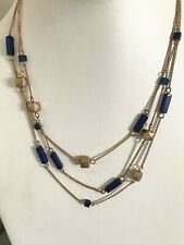 Kenneth Cole Navy Blue Semi Precious Stone Gold Illusion Necklace. Adjustable
