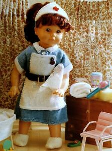 """Knitting Pattern DK Dolls Clothes 16""""  20""""  24""""  Nurse outfit"""