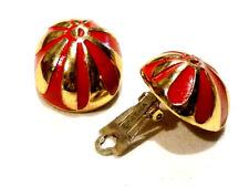 Bijou boucles d'oreilles clips Oréna alliage doré rouge et or  earrings
