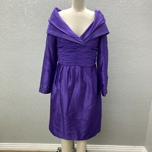 NWOT Stacy Adams Formal Cocktail Evening Dress Women's 8 Purple Embellished