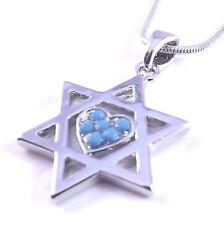Estrella De David Magen Judaica Collar De Corazón Colgante Joyería Kabbalah Plata Piedra