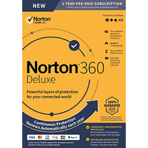 Norton 360 Deluxe - Real-time Threat Protection - 1 Year 3 Device - Canada USA