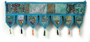 Embroidered Turquoise patch work cotton Door Hanging Boho Toran Vintage Valances