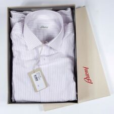 NWT $515 BRIONI White Striped Dress Shirt 100% cotton made in Italy 14 1/2 Size
