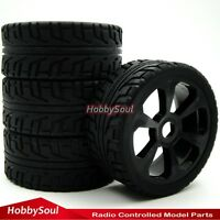 4pcs New 1/8 RC On road Buggy Rubber Soft Tires Tyres & Hex 17mm Wheels Rims