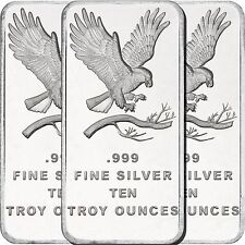 SilverTowne Trademark Eagle 10oz .999 Fine Silver Bar LOT OF 3