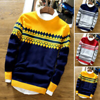 Men Printed Long Sleeve Round Neck Tops Jumper Pullover Shirts Knitted Sweater