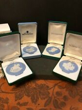 Incredible Set of 4 Wedgwood Blue Christmas Ornament Discs, With Boxes