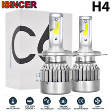 Pair iSincer CREE H4 LED Headlight Kit 1500W 225000LM Hi/Low Beam Bulbs 6000K C6