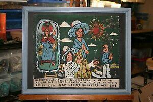 Saint Nino de Atocha Retablo/Ex-Voto Painted on Tin by Velez Christ Child Rustic
