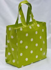 Handmade Cotton Oilcloth mini tote Lunch, craft, Childs Bag - Green Spot