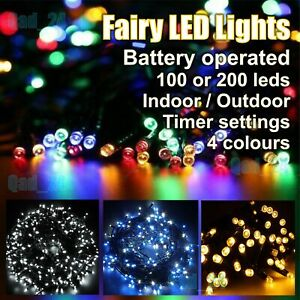 Fairy LED Lights Battery Operate String Timer Indoor Outdoor Christmas Tree Xmas
