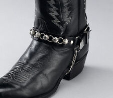 New! Black Leather Boot Chains - Silver Star Studs and Rings