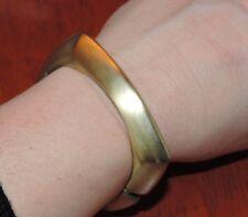 Vintage Clamper Bangle Bracelet Square Brushed Gold tone Hinged 4a 37