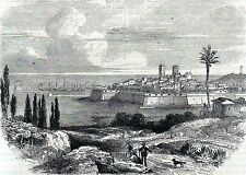 Antique woodcut print, gravure : Antibes Alpes-Maritimes France 1860