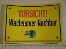 VORSICHT Wachsamer Nachbar Aufkleber POLIZEI 12cm x 8,5cm .