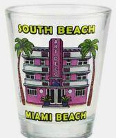 SOUTH BEACH FLORIDA PINK HOTEL SHOT GLASS SHOTGLASS