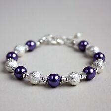 Silver stardust purple pearls beaded bracelet party wedding bridesmaid gift