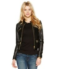 d3ba4b87dca60 Michael Kors Women s Leather and Suede Inset Jacket Logo Zip Black Size 10