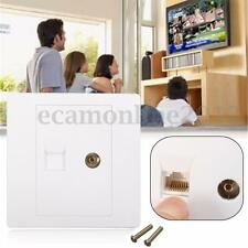 Wall Plate RJ45 Socket Network Computer + Coaxial TV Aerial Connector Faceplate