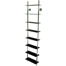 Black Wall Mounted Glass DVD Storage Shelves CH1531-B