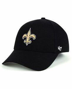 NEW ORLEANS SAINTS NFL 47 BRAND MVP STRAPBACK ADJUSTABLE BLACK HAT CAP